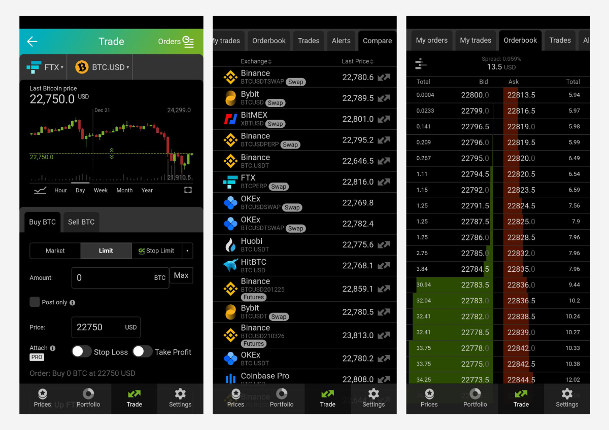 Find your preferred market and follow its order books live.