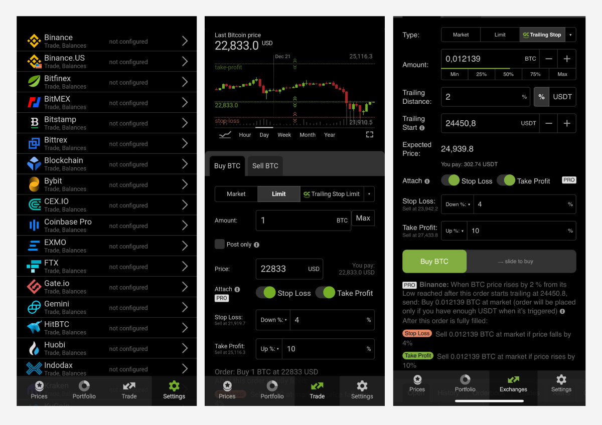 Connect with any major cryptocurrency exchange and start trading.