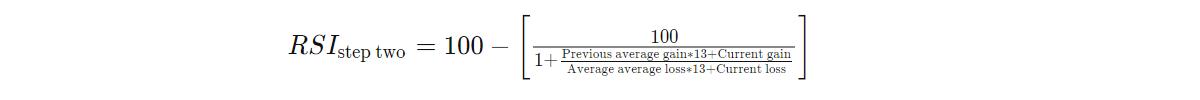 Для расчёта второй части RSI, необходимо иметь такое-же количество данных, которое выбрано в периоде данного индикатора.