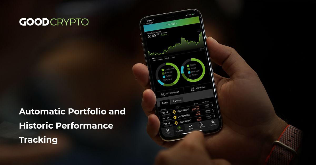 Automatic cryptocurrency portfolio tracking and portfolio performance