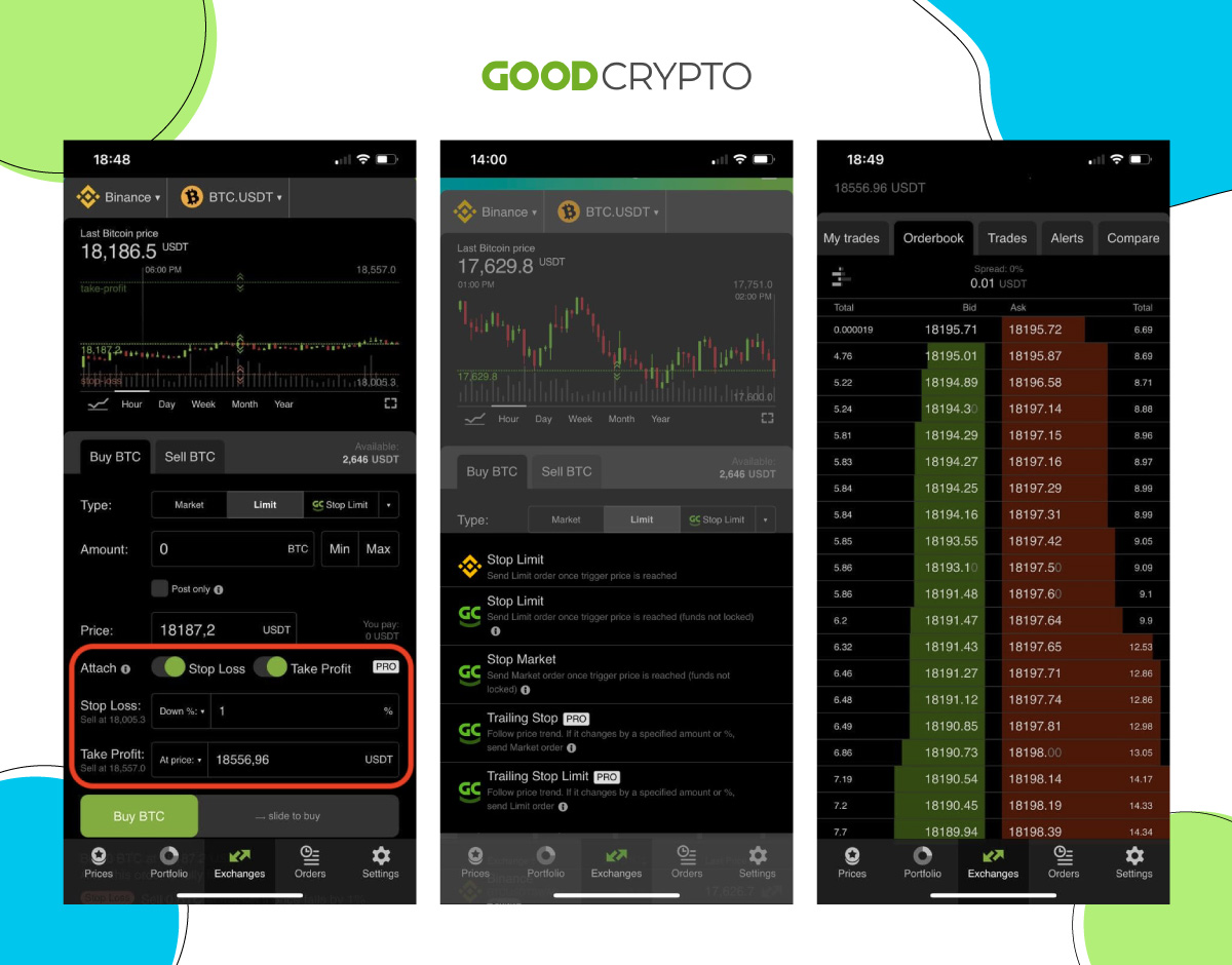 Order types; order connection; and orderbook tracking in Good Crypto.