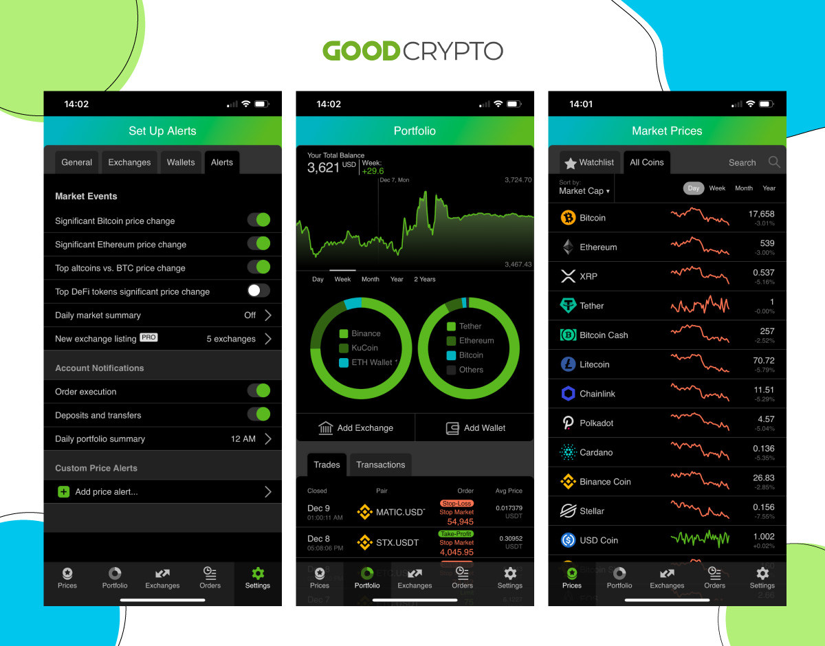 The functionality of Good Crypto includes but is not limited to market prices, alerts, portfolio tracking