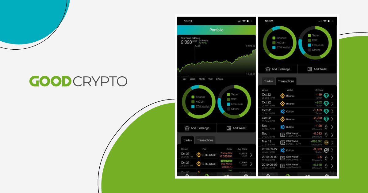 Good Crypto provides an overview of all the accounts and wallets connected. In-depth trading history and transactions are also provided, giving a full picture