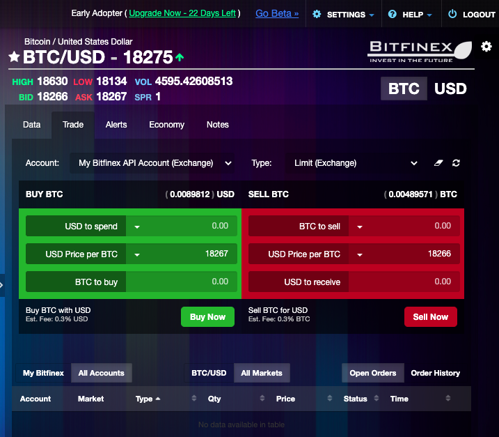 Trading terminal on the web version of Coinigy