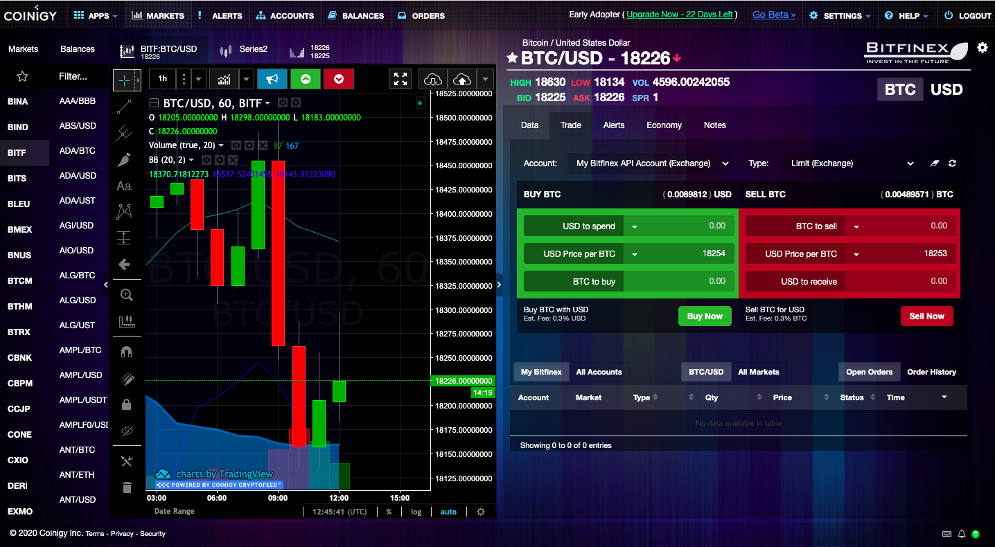 Coinigy's web interface in 2020