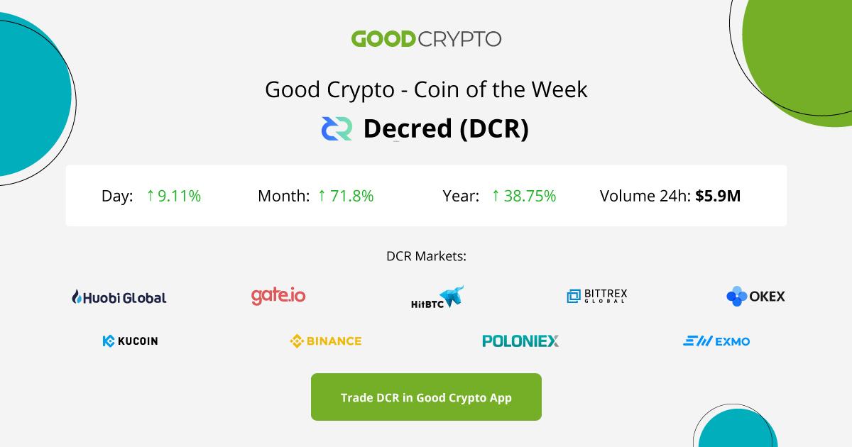 💲 Good Crypto - Coin of the Week Decred (DCR)