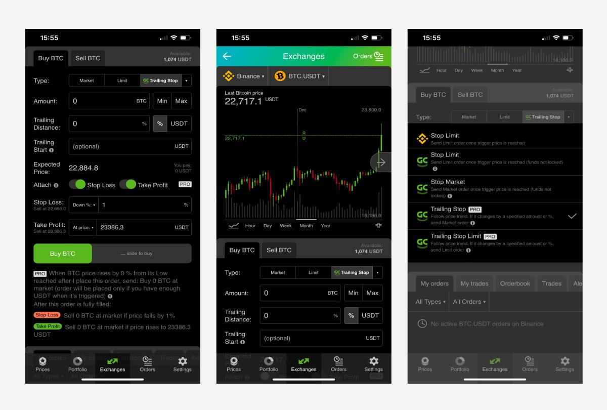 Торговый функционал в Good Crypto на iOS
