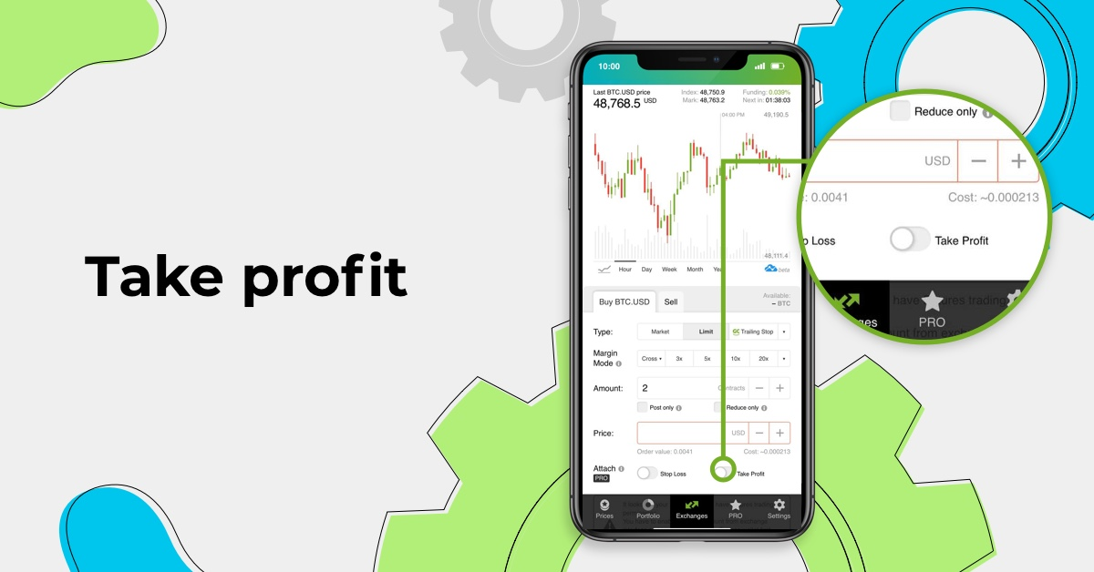Take profit is a type of order that helps you automatically close trades in profit when the price level you've previously specified is reached.