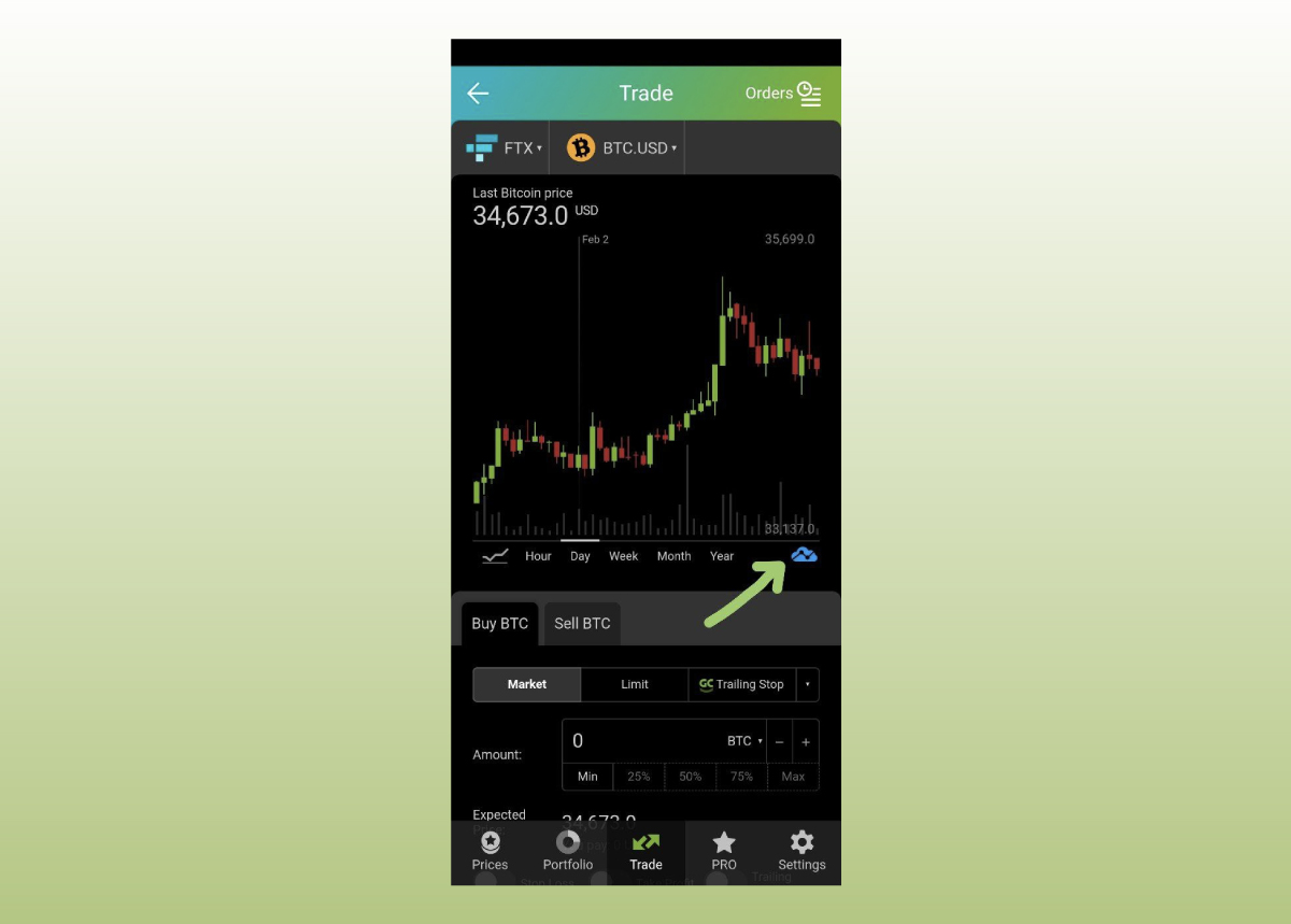 Setting up Bollinger Bands in Good Crypto app