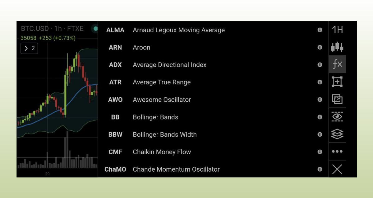в приложении Good Crypto доступно 37 индикаторов